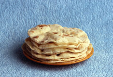 Indian chapatis stack of tortillas on a plate Royalty Free Stock Images