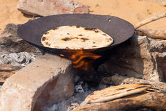 Indian chapatti on fire Stock Image