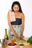 Indian Chef Cuts Vegetables Stock Photography