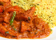 Indian Chicken Curry. Indian chicken jalfrezi curry with pilau rice Royalty Free Stock Images