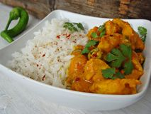 Indian Chicken Curry with yogurt. Chicken curry in a hurry with white plain rice Royalty Free Stock Photo