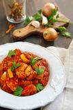Indian chicken Jalfrezi. Served on the plate Stock Image