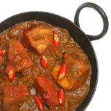 Indian Chicken Jalfrezi Curry. In balti serving dish Stock Images