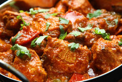 Indian Chicken Jalfrezi Curry Food. Indian chicken jalfrezi curry in balti dish Stock Images