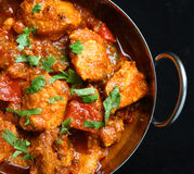 Indian Chicken Jalfrezi Curry Food. Indian chicken jalfrezi curry in balti dish Stock Photo