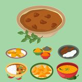 Indian chicken jalfrezi with rice and vegetable curry various spice chicken restaurant healthy cuisine food vector stock illustration