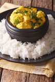 Indian chicken Korma with basmati rice close-up. vertical Royalty Free Stock Photography