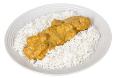 Indian Chicken Korma Served with White Basmati Rice Stock Photo