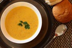 Indian Chicken Soup. Hot Indian Chicken Soup in Bowl With Bread Stock Photos