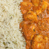 Indian Chicken Tikka Masala Curry. With pilau rice Royalty Free Stock Photo