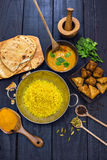 Indian chicken tikka masala curry in balti dish served with pila Stock Photography