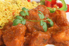 Indian Chicken Vindaloo Curry. Chicken vindaloo, very hot Indian curry with potatoes and rice Stock Photography