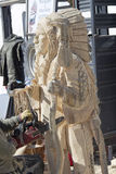 Indian Chief Chainsaw Carving Royalty Free Stock Photography
