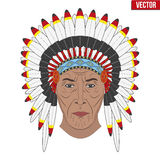 Indian chief in a feathered hat. Front view Royalty Free Stock Images