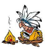 Indian chief fire cartoon illustration Stock Photography
