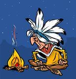 Indian chief fire night cartoon illustration Royalty Free Stock Photo