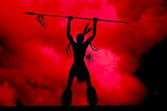 Indian chief Illustration. On a red sky background royalty free illustration