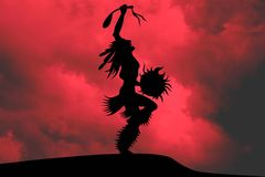 Indian chief Illustration. On a red background stock illustration