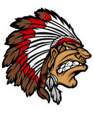 Indian Chief Mascot Cartoon Vector Logo Stock Image
