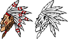 Indian Chief Mascot Logo. Vector Images of Indian Chief Mascot Logos Royalty Free Stock Photo