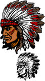 Indian Chief Mascot Vector Logo. Vector Images of Indian Chief Mascot Logos Stock Image