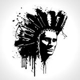 Indian chief portrait splash vector. T-shirt graphics. Hand drawn indian chief portrait splash vector. T-shirt graphics, men's t-shirt illustration Royalty Free Stock Images
