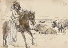 Indian. Chief riding a horse, watching buffalo herd. /// A hand drawn illustration converted into vector. Vector is editable in 7 layers Royalty Free Stock Photos