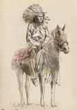 Indian. Chief sitting on a horse. /// A hand drawn illustration converted into vector. Vector is editable in 4 layers Stock Photos