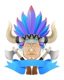 The Indian chief with a tomahawk Royalty Free Stock Photos