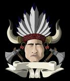 Indian chief with a tomahawk Royalty Free Stock Photo