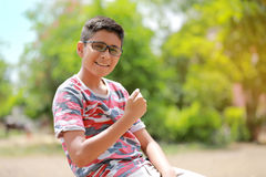 Indian child on eyeglass Royalty Free Stock Photo