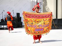 Indian child. ISTANBUL - APRIL 23: Unidentified 10 years old Indian child in traditional costume performs during National Sovereignty and Children Day festival Royalty Free Stock Images
