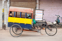 Indian Child Riding School Cycle Rickshaw Royalty Free Stock Images