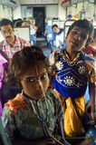 Indian children. Two Indian children decorated as mythological character to perform in train compartments and earn money for their family Royalty Free Stock Photo