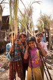 Indian children with cane sugar Stock Photography