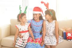 Indian children celebrating Christmas Stock Images