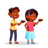 Indian Children In Diwali Festival Lighting Candles Vector Flat Cartoon Illustration royalty free illustration