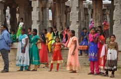 Indian children on excursion in Hampi stock photos