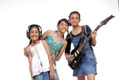 Indian Children music band. Indian girls music band over white background Stock Images