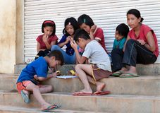 Indian children play on the steps of the house in Bangalore Stock Image
