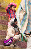 Indian children on the steps of Ghat in Varanasi Stock Photography