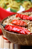 Indian chilly spice and wheat Stock Images