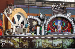 Indian Cinema stage setting. Workers preparing an Indian cinema stage for a show Stock Photos