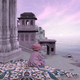 Indian city in the morning. Old indian city on the Ganges river in the morning Stock Images