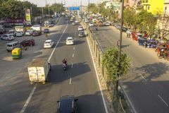 Indian city streets with traffic and pedestrians, aerial view royalty free stock image