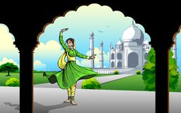 Indian Classic Dancer performing in Taj Mahal Royalty Free Stock Photography