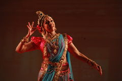 Indian classical dance live performance. Indian film actress and classical dancer Hema Malini performs her famous dance ballet, titled as Geet Govind during Stock Photography