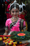 Indian Classical dancer. An adolescent Indian classical dancer girl is ready for her dance performance with traditional dressings and accessories Royalty Free Stock Photos