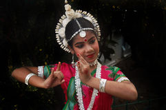 Indian Classical dancer. An adolescent Indian classical dancer girl is ready for her dance performance with traditional dressings and ornaments Stock Photo