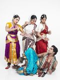 Indian classical dancers. Four indian classical dancers having fun four indian classical dancers having stock photography